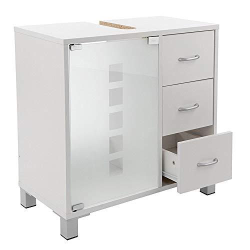 Limal Waschtischunterschrank mit 3 Schubladen Holz weiß, 30 x 60 x 56 cm | Glastür | Teilrückwand | Aussparung für Siphon